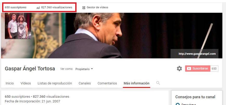GASPARVIDEOS ALCANZA LAS ¡¡¡ 825000 REPRODUCCIONES EN YOUTUBE !!!