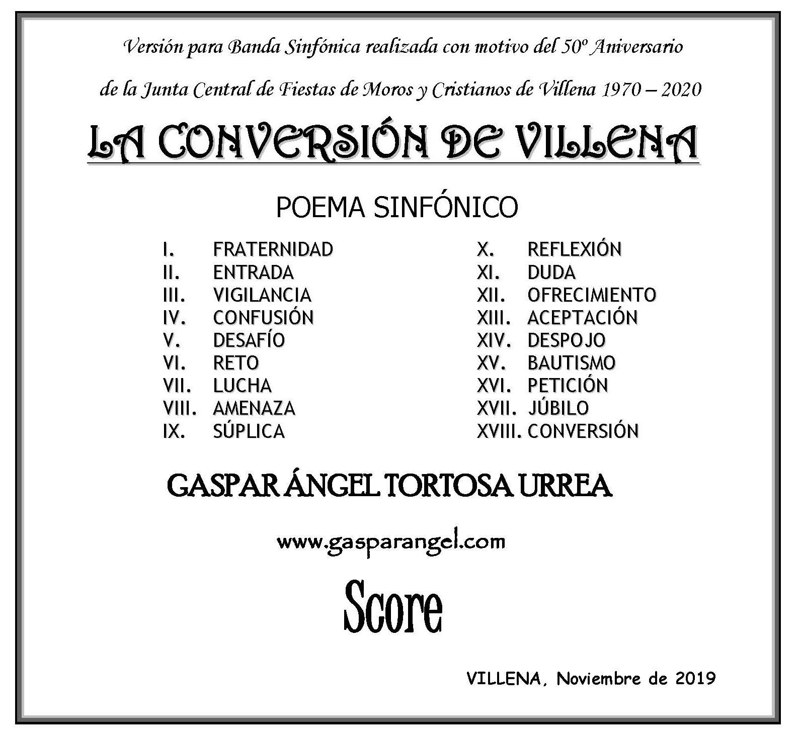 """ESTRENO DE LA VERSIÓN PARA BANDA SINFÓNICA DE """"LA CONVERSIÓN DE VILLENA"""" (Poema Sinfónico)"""