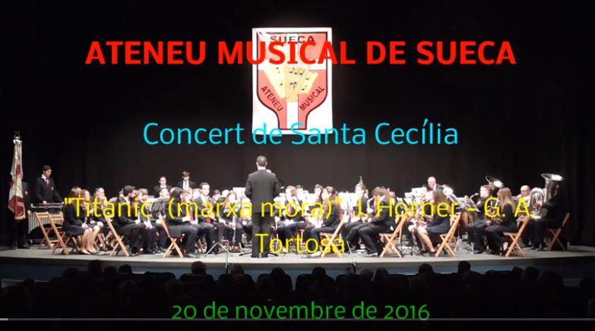 """Video.- ATENEU MUSICAL DE SUECA (VALENCIA) interpreta """"TITANIC"""" (Versión a Marcha Mora de Gaspar Ángel)."""