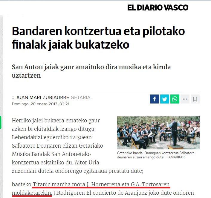 """GETARIAKO MUSIKA BANDA (GUIPUZCÓA) INTERPRETÓ LA VERSIÓN DE """"TITANIC"""" A MARCHA MORA DE GASPAR ÁNGEL."""