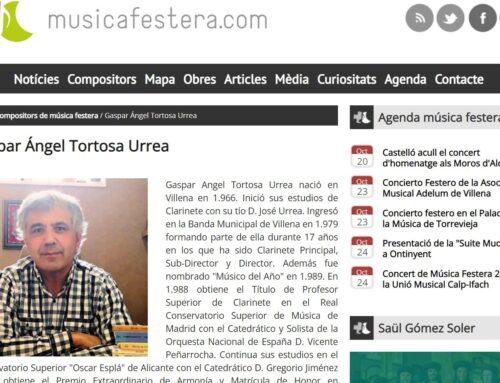GASPAR ÁNGEL TORTOSA EN LA WEB MUSICAFESTERA.COM